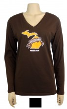 Ladies' Long Sleeve V-Neck T-shirt, 4.5 oz., 60% cotton / 40% polyester jersey knit. Longer length, Traditional silhouette.