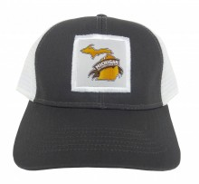 Medium profile six panel structured cap. Cotton twill fabric with white mesh back. Adjustable white plastic snap tab. Michigan Brewers Guild logo on a Woven Applique stitched on the front of the cap. MIBEER.com over back opening.