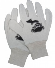 7 oz. natural reversible jersey knit gloves.  Michigan The Great Beer State logo on back of both gloves.  One size fits most.