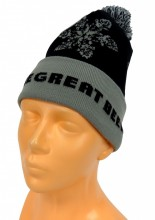 Elite Knit Cap with Cuff, Michigan the Great Beer State knit in around cuff of cap. Black and Silver with pom on top.