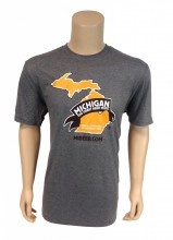 Tri-Blend crew 4.5 oz., 50/25/25 poly/ring spun combed cotton/rayon t-shirt, steel grey with Michigan the Great Beer State logo on front.