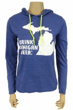 Women's Lightweight Long Sleeve Hooded T-Shirt. 4.5 oz., 100% combed ringspun cotton. Heather colors are 60/40 poly/ringspun cotton. Relaxed unlined hood with contrast drawcord. Double-needle neck, sleeve and bottom hem.  Drink Michigan Beer logo on the front in White, and Michigan the Great Beer State logo on the right shoulder in White.