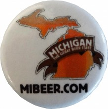 "Michigan The Great Beer State logo pin, 1.25"" diameter."
