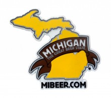 "Custom molded 3D rubber magnet – ""Michigan – The Great Beer State"".  Made in the USA"