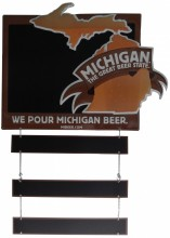 "Tin tacker kit includes 1-Michigan The Great Beer State chalk tin tacker main panel, 4-chains, 6-""S"" hooks and 3-small chalkboard shingles.  Main panel measures 24""W x 20""H, including the portions that extend beyond the board; small shingles measure 18""W x 2.75""H."