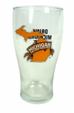 Pint glass, 16 oz. (24/pack), Michigan Brewers Guild logo on one side and Drink Michigan Beer on the other side in black ink.