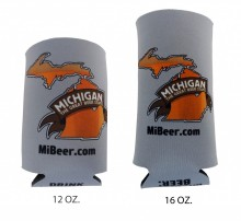 "Collapsible foam can insulator in two sizes, 12 oz. and 16 oz. Full color ""Michigan The Great Beer State"" logo on both sides, ""Drink Michigan Beer"" logo on the bottom."