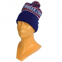 USA Made Jacquard Knit cap with custom MIBEER.COM knit in. Royal blue with thin Red and White stripes and pom on top.