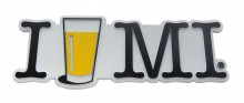 "Custom molded 3D rubber magnet – ""I BEER MI"".  Made in the USA"