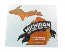 "Michigan The Great Beer State logo decal, 5.75"" x 5.25"" vinyl."
