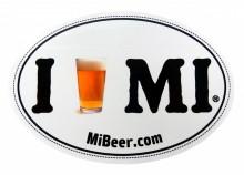 I Beer MI bumper sticker, 4 x 6 oval.