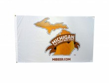 White dacron flag with Michigan The Great Beer State logo, 3'H x 5'W.