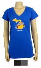 Ladies' Short Sleeve V-Neck T-shirt, 4.5 oz., 60% cotton / 40% polyester jersey knit.  Longer length, Traditional silhouette.