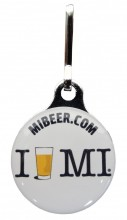 Zipper pulls have full color domed imprints.  I Beer MI logo.