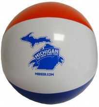 "16"" red, white & blue beach ball with Michigan The Great Beer State logo in blue."