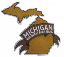 "Michigan The Great Beer State embroidered patch, 5""H x 4.5""W."