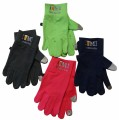 Spandex touchscreen gloves, silicone grip pattern on palm and touchscreen tips on index fingers and thumbs. I Beer MI logo embroidered on cuff. One size fits most.