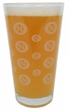 """ON"" logo - a bunch of times!  Rinse, step, repeat. This 16oz. pint glass is sure to be seen at all the elite dinner parties.  Get yours today!"