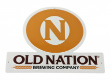 """This Old Nation tin tacker is the easiest way to class up any man-cave, she-shed,home bar, garage, bedroom or bathroom.   Measures approx 10.7""""H x 14"""" W"""